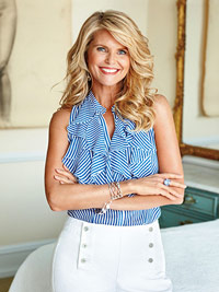 Christie Brinkley in blue shirt