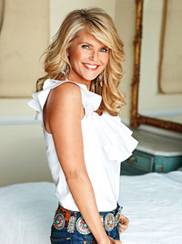 Christie Brinkley in white shirt