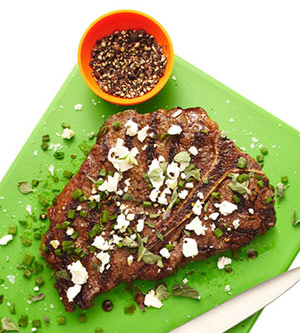 Juicy Steak with Feta Topping