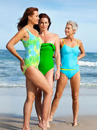 Women of all ages on the beach