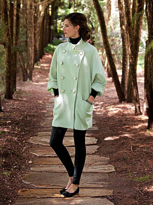 Model in green coat
