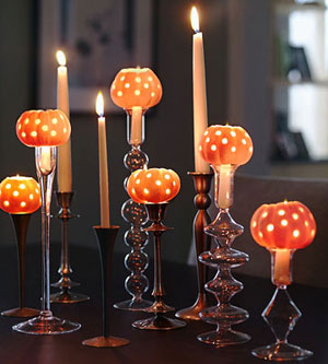 orange pumpkin modern wedding candlesticks
