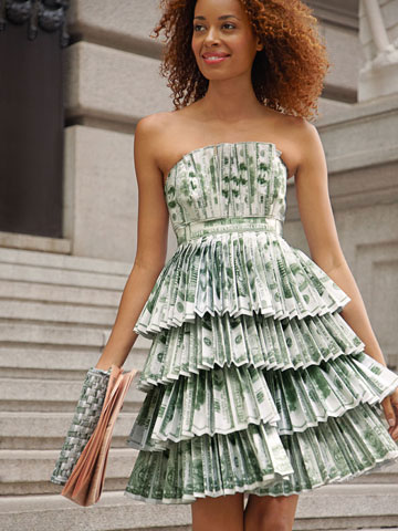 A dress made of money, sometimes I wonder if this is cheaper than buying a wedding dress