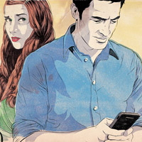 Illustration of couple with man on phone