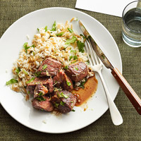 Rachael Ray?s Sirloin Tips and Arugula Rice Pilaf