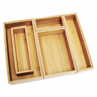 Five-piece bamboo organizer box set