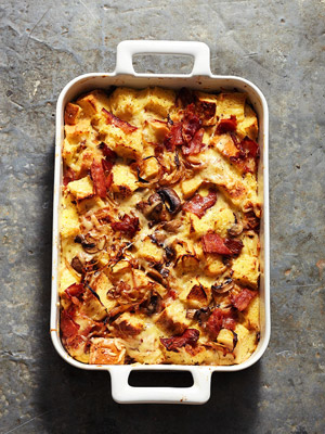 Onion, Bacon and Mushroom Strata