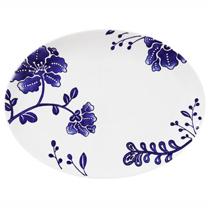 Blue Floral Porcelain Platter