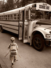Boy going to bus