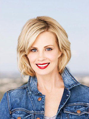 Monica Potter with red lips