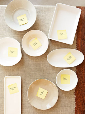 labeled serving dishes