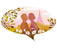 Eiffel Tower, lovers thought bubble illustration