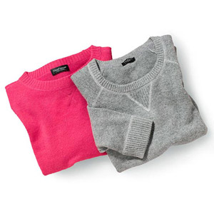 Pink sweater and gray sweater