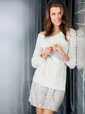 Moynahan in sweater and sequin mini