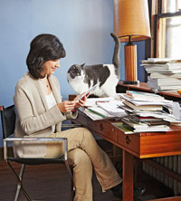Woman at Desk with Cat