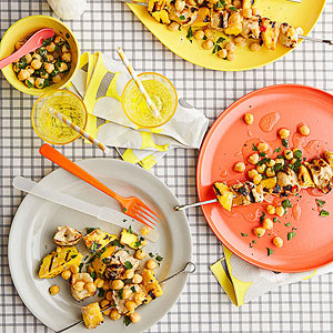 Chicken with mango kabobs