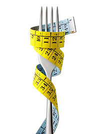 Measuring tape on fork