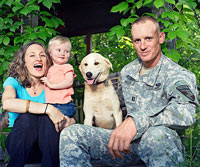 Family, solider and dog Solha