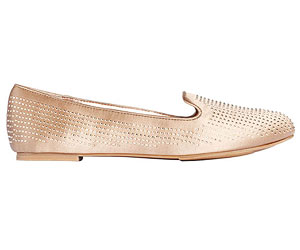 Champagne satin slip-on shoes