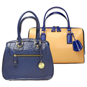 Structured handbag tan, structured handbag blue