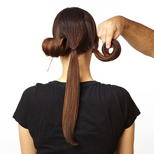 Downton hairstyle roll ponytails one