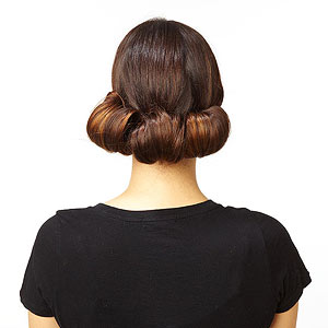 Downton hairstyle roll ponytails two