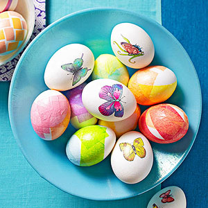 Blue bowl of mixed Easter eggs