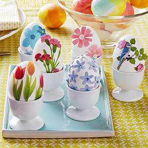 Easter eggs with flowers and Easter eggs with tissue paper