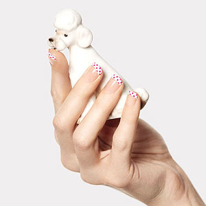 Hands with polka dot French manicure holding French poodle