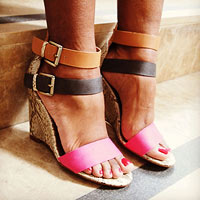 Snake skin printed wedges