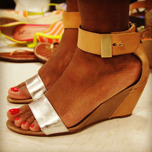tan and silver ankle strap wedges