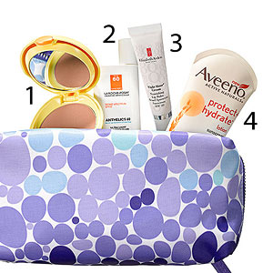 Four sunscreens in makeup bag