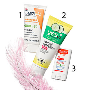 Three sunscreens with a feather
