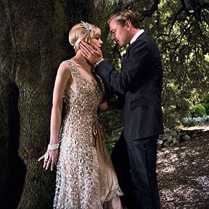 Daisy in sequin dress with Gatsby in the woods