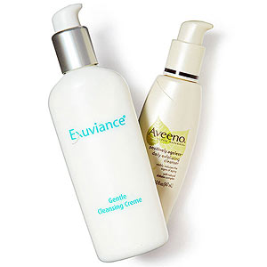 Exuviance gentle cleansing creme, Aveeno exfoliating cleanser