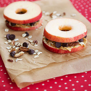 PB and trail mix apple sandwiches