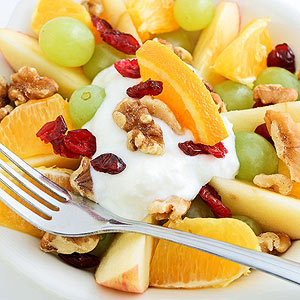 Yogurt with fruit and walnuts
