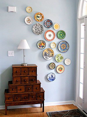 Plates on accent wall