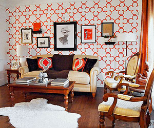 Orange stencil accent wall