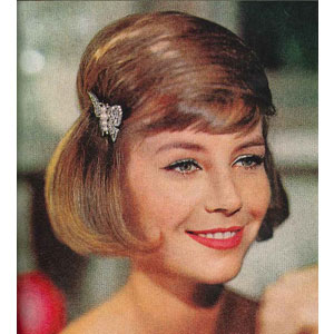 1960s woman with bob hairstyle and clip