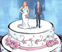 Illustration of couple on wedding cake