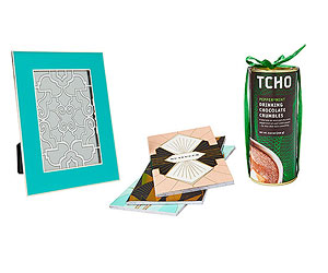 Blue frame, art deco notebooks, peppermint hot chocolate