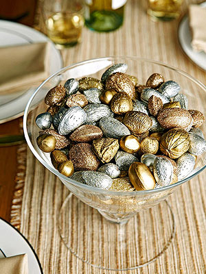Pretty centerpiece  metallic painted nuts in bowl
