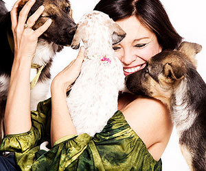 Woman with puppies