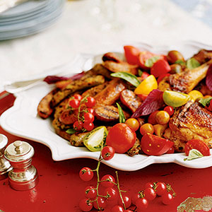 Family Reunion, grilled chicken and sausages with herbed tomato salad