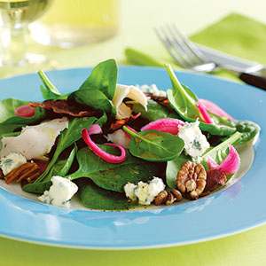 5 Family-Friendly Supper Salads, turkey bacon and pickled-onion spinach salad