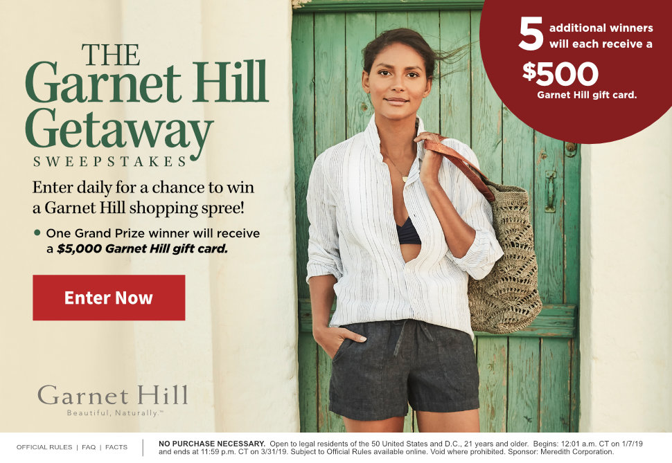 The Garnet Hill Getaway Sweepstakes