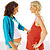 two pregnant women touching each others belly