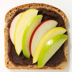 Apple butter and fresh apple slices