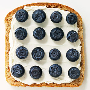 Whipped cream cheese and fresh blueberries